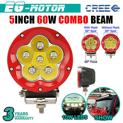 5INCH 60W RED ROUND CREE LED Driving LIGHT Spot Flood Combo Fog Offroad Lamp NEW