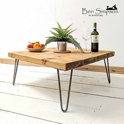 Rustic Coffee Table With Solid Wood Metal Hairpin Legs BEN SIMPSON FURNITURE