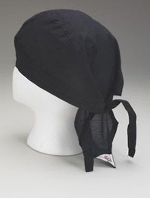 2 New Black Chef Hat - Commercial - Tie Back - Cap Beannie - Doo Rag