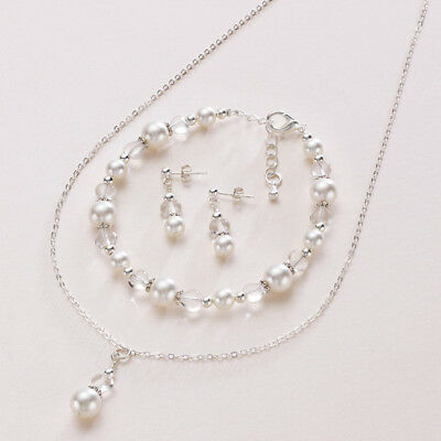Wedding Jewellery Set for Bride or Bridesmaid, Choice of Pearl Colour. Gift Box