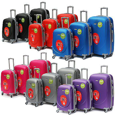 Luggage Set Of 3 Hard Shell ABS Plastic Suitcase Carry On Hand 4 Wheeled Trolley