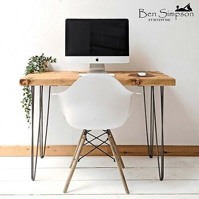 Rustic Hairpin Desk | Industrial Kitchen Table | Chunky Solid Wood Sideboard