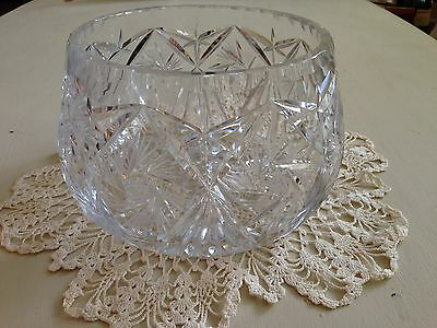 Vintage Large cut crystal bowl heavy pinwheel 8 point star