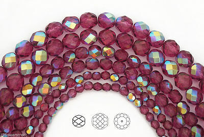 Czech Glass Fire Polished Round Faceted Beads in Crystal Golden Copper Fully ctd