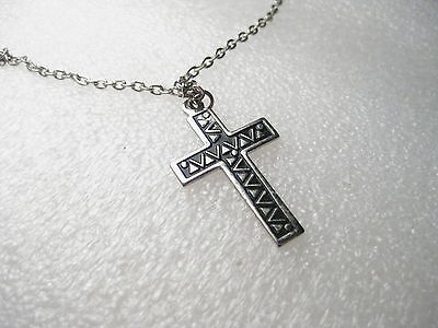"Vintage 20"" silvertone Chain with Cross Pendant, 1.25"", black enamel, stamped"