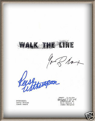 "Reese Witherspoon Joaquin Phoenix Signed ""walk The Line"" Bio Movie Script Rpt"