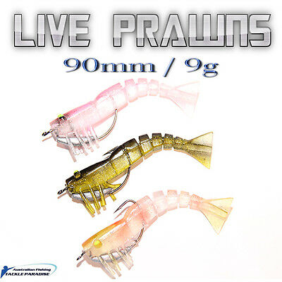 3x Live Prawns Unweighted Shrimp Soft Plastic 90mm 9g Fishing Lures BREAM Jigs