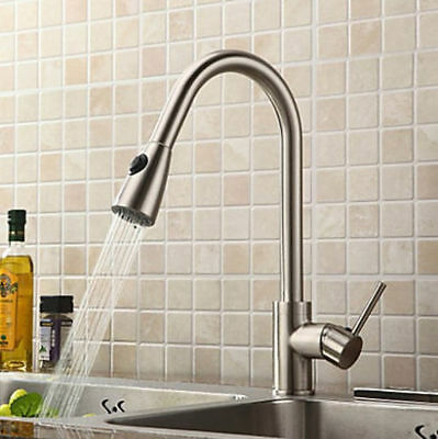 Brushed nickel Single Handle Pull out Spout Kitchen Sink Faucet Mixer Tap