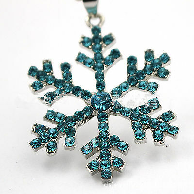 Girl Kid Child blue Frozen Snowflake costume Crystal Necklace Friendship Gift