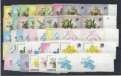 Lesotho 1984 Butterflies set of 15 imperforate plus colour seperations
