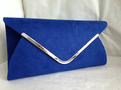 New Royal Blue Faux Suede Evening Day Clutch Bag Wedding Club Prom Xmas Party