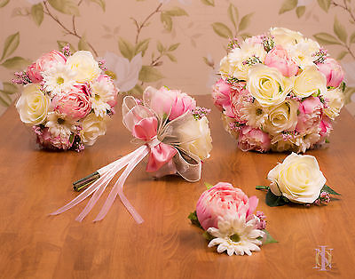 Silk Rose & Peony Bridal Bouquets in Pink & Ivory, Bridesmaids, Flower Girl