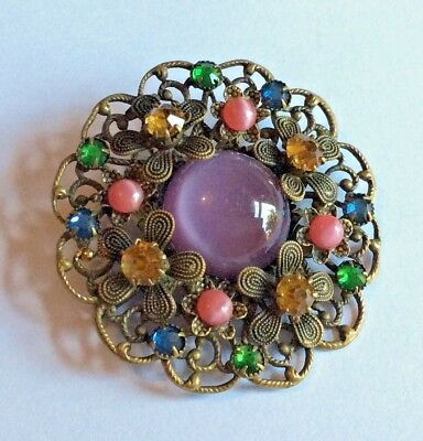 Attractive Edwardian Czech pressed gold-tone metal & coloured glass brooch