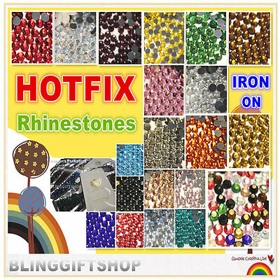 Hotfix Diamantes Glass Rhinestones Diamond Gems Craft Quality Flat Back Iron On