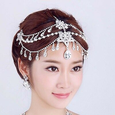 Clothing, Shoes & Accessories Women's Accessories Bridal Rhinestone Crystal Dangle Topknot Forehead Maang Tikka Headpiece Hr327