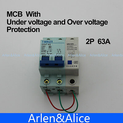 2P 63A 400V~ 50HZ/60HZ MCB MN+MV with over voltage and under voltage protection