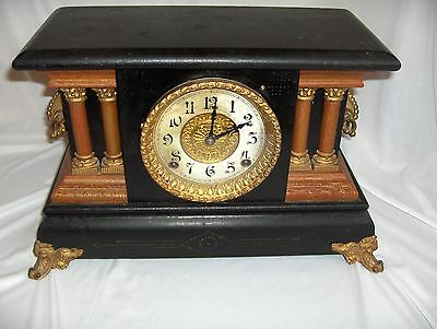 Antique Ornate Ingraham Wood Clock Pillars 1890's Oiled Cleaned Works Great NICE