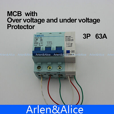 3P 63A 400V~ 50HZ/60HZ MCB MN+MV with over voltage and under voltage protection