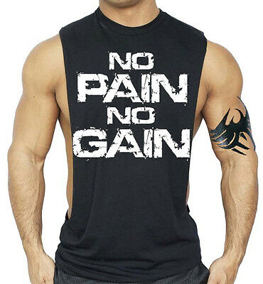 Men's No Pain No Gain Black Deep Cut Workout Vest Tank Top Beast Muscle Gym Tee