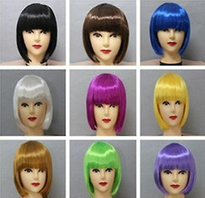 Girls Children Lady Short Fringe Halloween Costume Party Bob Straight Hair Wigs