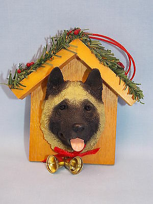 Akita Dog in House Resin/Wood Material Christmas Tree Ornament 3 1/2 In New