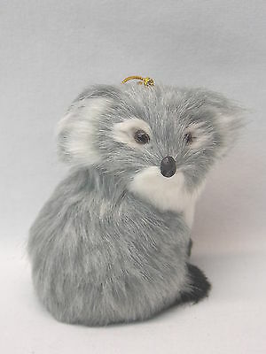 Sitting Koalas Soft Furry Body Christmas Tree Ornament 3 In String to Hang New