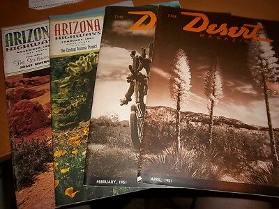 "Set 4 VINTAGE ARIZONA Magazines- ""Arizona Highways""-64 & 69, 2 ""The Desert""-1951"