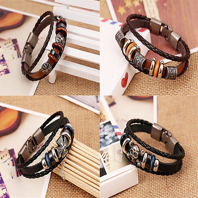Brilliant  Punk Unisex Women Men Wristband Metal Studded Leather Bracelet