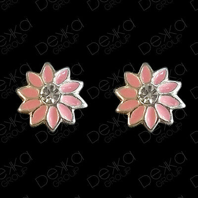 925 Sterling Silver Pink Daisy Flower Stud Earrings & Crystal Small Studs Girls