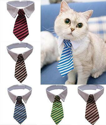 Adjustable Cat Striped Bow Tie Collar Neck Tie Tuxedo
