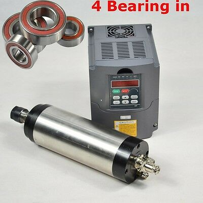 Four Bearing 0.8Kw Water Cooled Spindle Motor Matching 1.5Kw Inverter Vfd Cnc