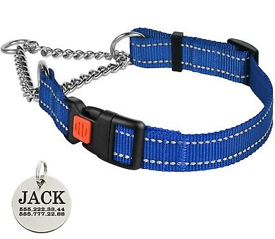 Personalized Dog Collar Rolled Leather Martingale Collars Choke S M L XL Blue