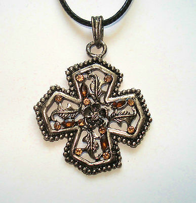 Pewter Amber Cross Pendant  On 18 Inch Cord