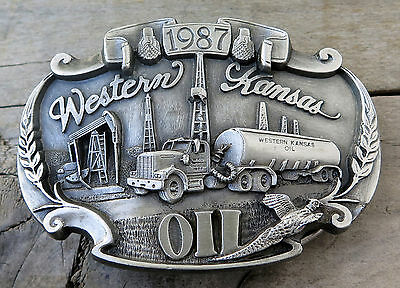 Western Kansas Oil Derrick Pump Petroleum 1987 Siskiyou Vintage Belt Buckle
