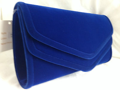 New Royal Blue Faux Suede Evening Day Clutch Bag Wedding Party Prom Club Pink
