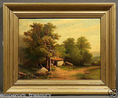"Early 20th Century ""Landscape with Small Cottage"" Signed Oil Painting"
