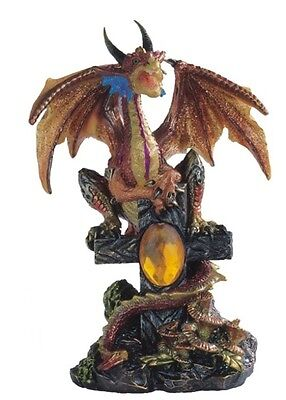 "5.75"" Inch Dragon Statue on Cross Figurine Figure Fantasy Magic Fantasy"