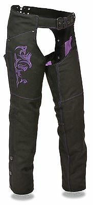 Women's Motorcycle Motorbike Textile Chap Purple Reflective Embroidery Black New