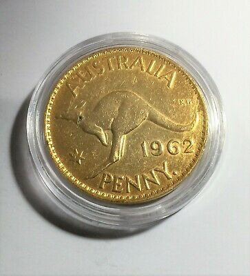1962 Circulated Australian Penny Coin 999 24k Gold HGE in Acrylic Capsule. QE 11