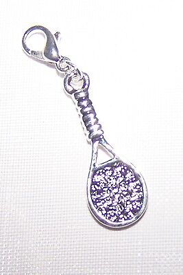 ~ Clip On Charm Beautiful Sterling Silver Plated TENNIS RACKET for bracelet