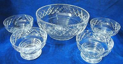 A Stuart Crystal Made in England Beau ? Pattern 5 Piece Comport Bowl Set