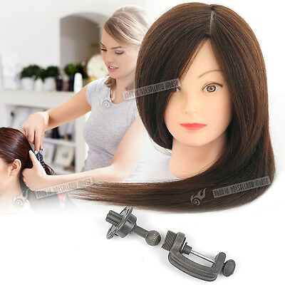 100% Real Human Long Hair Practice Mannequin Training Hairdressing Head Holder U