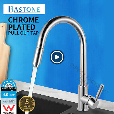Brass Chrome Swivel Pull Out Sprayer Kitchen Mixer Tap Laundry Sink Basin Faucet