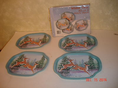VINTAGE TIN SNACK SMALL TRAYS WINTER DEER SET OF 4