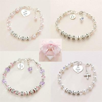 Sterling Silver Name Bracelets with Engraving. Personalised Girls Bracelets.