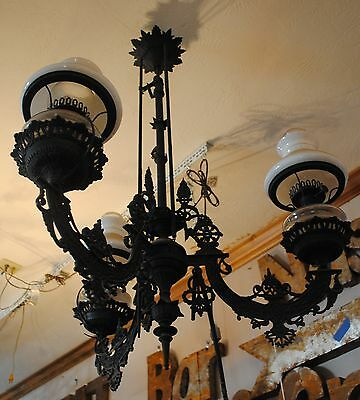 Antique Victorian Chandelier, Cast iron, Kerosene To Electric