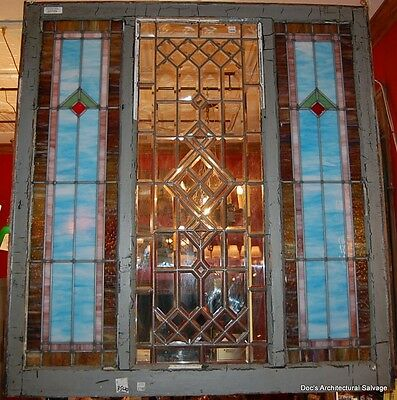 Antique Stained & Beveled Glass Window Vintage Architectural Salvage Home Decor