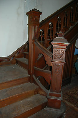 Antique Oak Stairway,paneled And Detailed Newel Post,original Finish 1890's