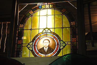 Antique Stained Glass Window,Church, child figure, arched, picture, man, big