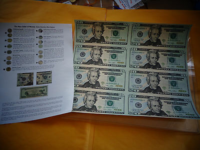 8 UNCUT SHEET $20, $20 x 8 Legal USA -20 DOLLAR BILLS, Real Currency Note -RARE